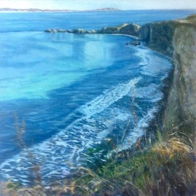 Turquoise Bay oil painting by artist Julie Dunster, pressing life's pause button.