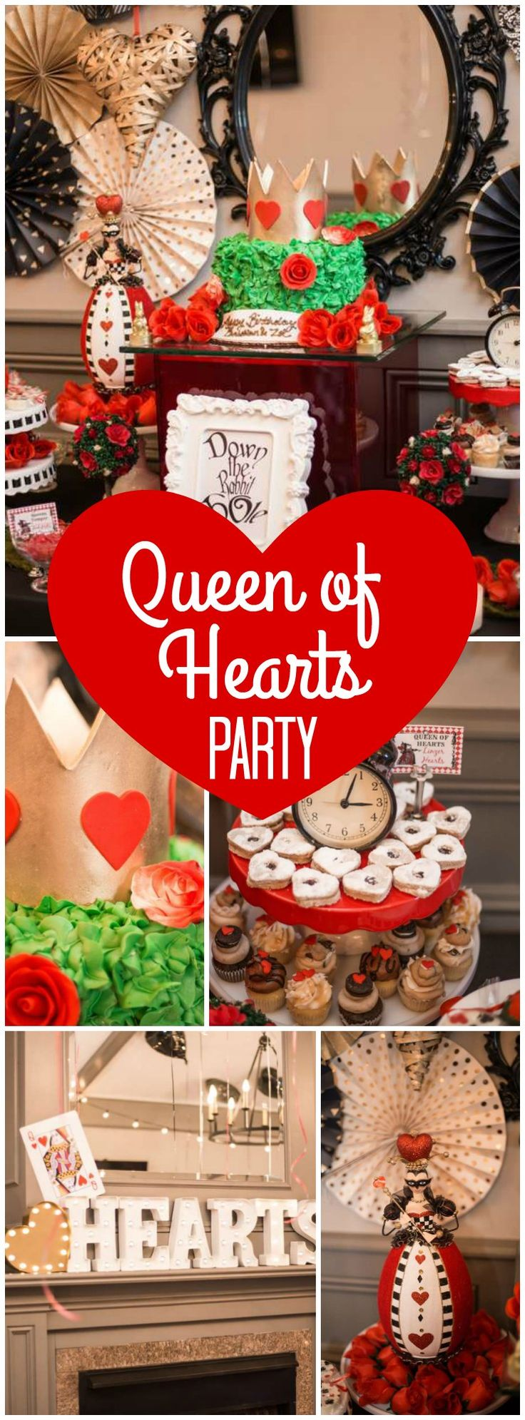 Check out this red, black, and white Queen of Hearts birthday party! See more party ideas at CatchMyParty.com!