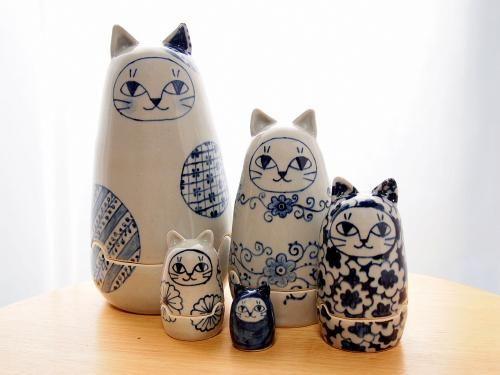 猫マトリョーシカ - ネコ好きの手作り陶器