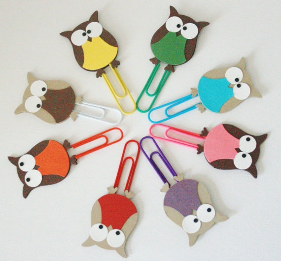 Decorative Paper Clips Owl Paper Clips Multicolored Set of Eight by The Orange…