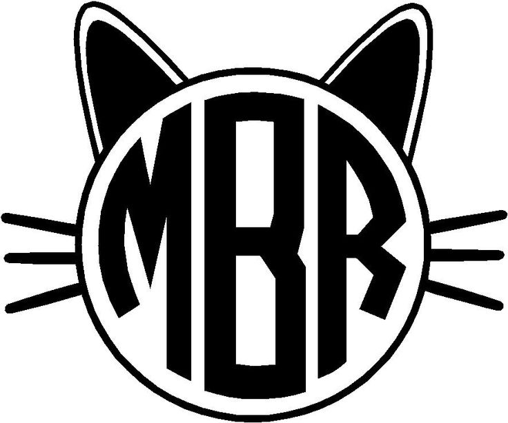 Personalized Cat Face Circle Monogram Vinyl Decal Sticker Car Yeti Tablet | eBay
