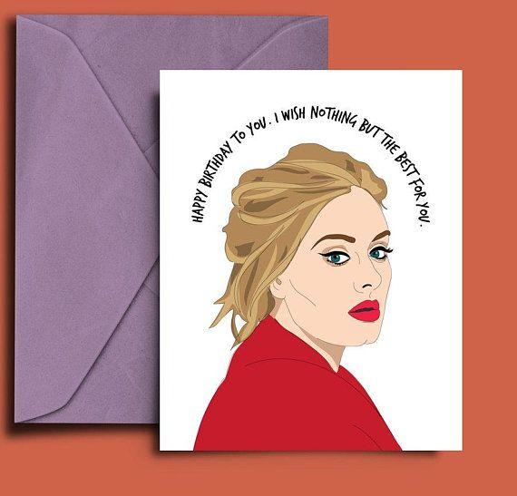 Adele Birthday Card Printable Adele Birthday Birthday Cards