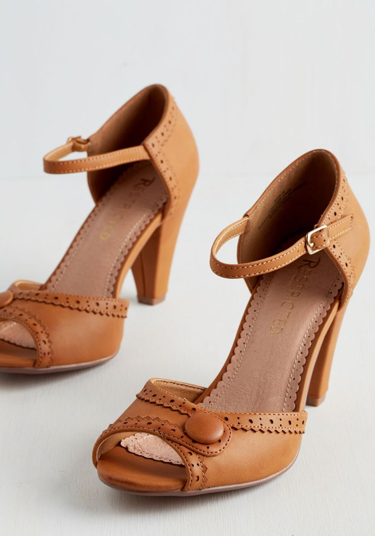 Marvelous Maven Heel in Cognac. These sweet peep toes by Restricted - in a chic brown hue - are your go-to for a busy workday! #tan #wedding #modcloth