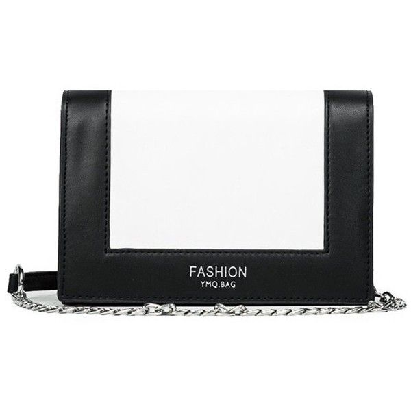 Contrast Color Chain Crossbody Bag Black (12.395 CRC) ❤ liked on Polyvore featuring bags, handbags, shoulder bags, crossbody shoulder bag, chain handbags, crossbody handbags, crossbody purses and chain purse