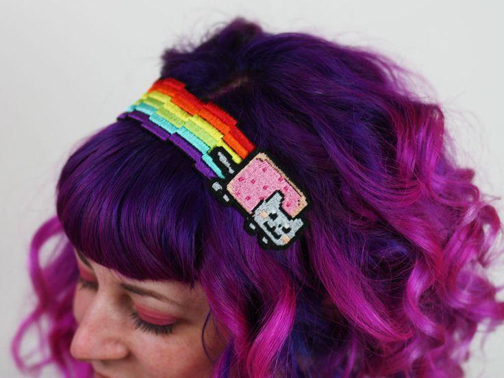 Nyan Cat Rainbow Headband, Pixel Rainbow, Kitty by JanineBasil on Etsy https://www.etsy.com/listing/128352030/nyan-cat-rainbow-headband-pixel-rainbow