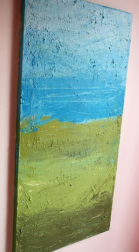DIY tutorial for textured wall art. :) Looks fun and easy. Might could find a hideous thrift store painting and paint over it for cheaper than buying a new canvas?