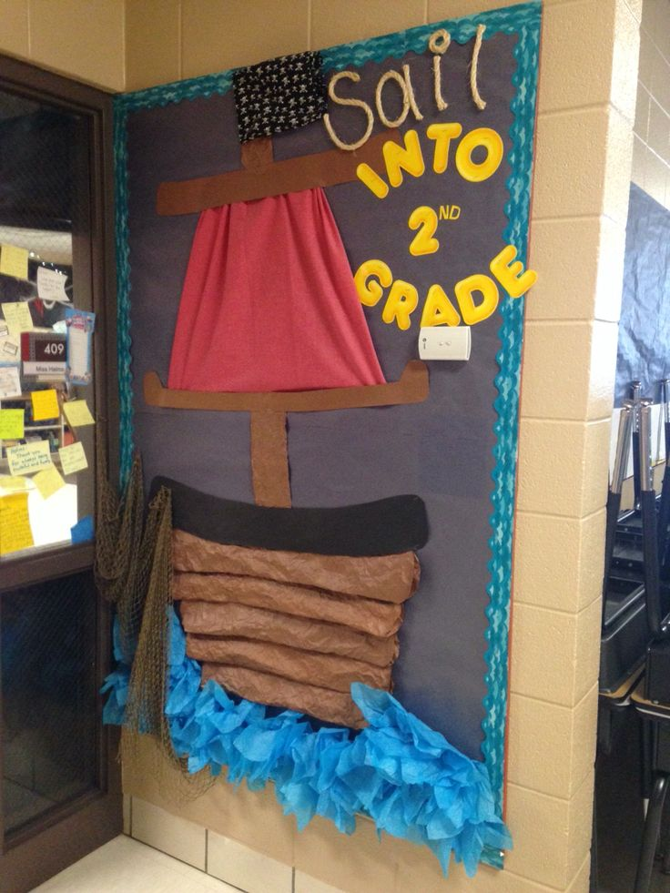 """Sail into 2nd Grade"" pirate theme bulletin board"