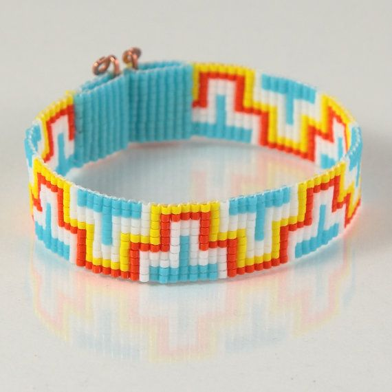 Aztec ZigZag Bead Loom Bracelet Artisanal Jewelry Southwestern Bohemian Hippie Chic Boho Yellow Orange White Bright