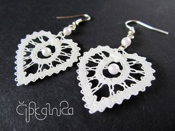 White Heart Shaped Lace Earrings  small by A5lace on Etsy, €12.00