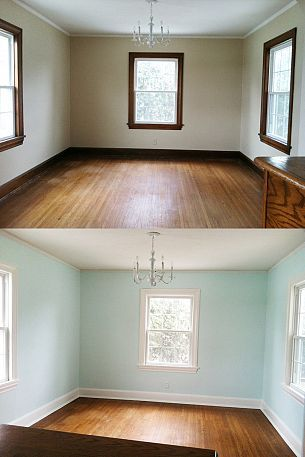 Painting Trim, a Before and After. I'm pinning this again after taking a closer look. If the top pic is the before, I like it better. It looks more spacious compared to the white which closes the room a bit.