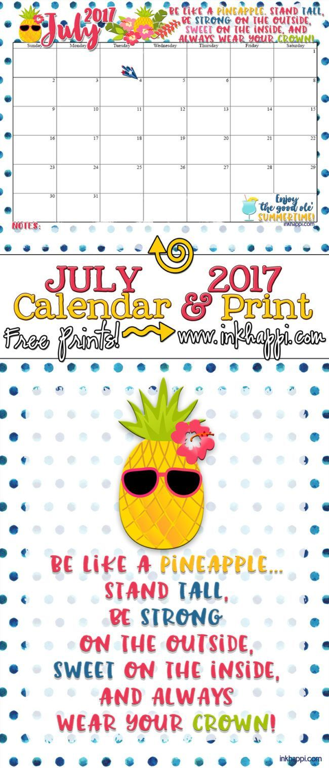 July 2017 Calendar and print from inkhappi!