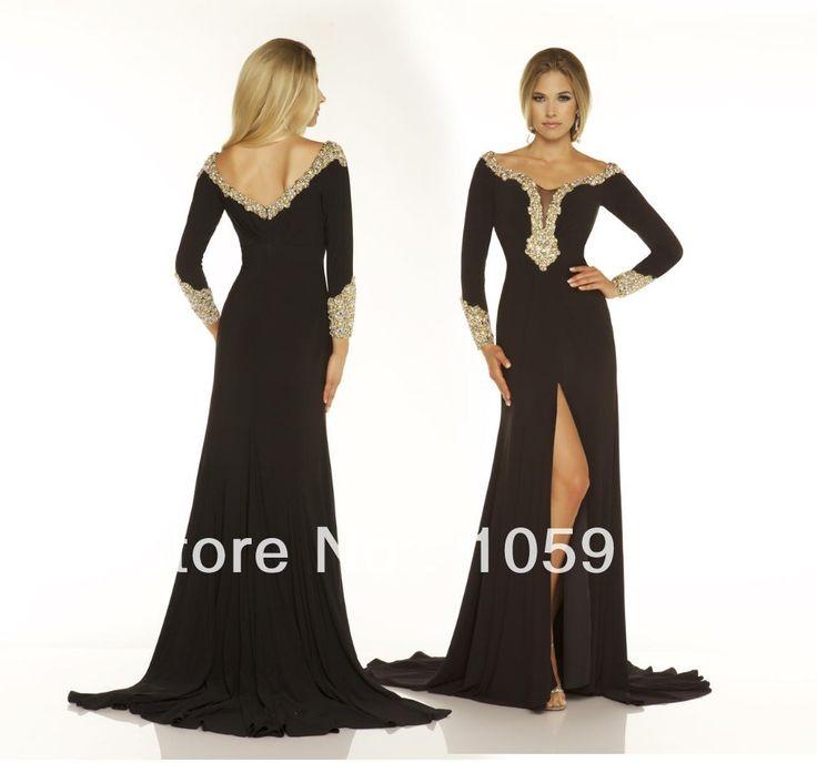 Хиты 2014 продать мода черный / кот с длинными рукавами бусины длинные сплит сшитое вечерние платья пром платья шифон VC-23