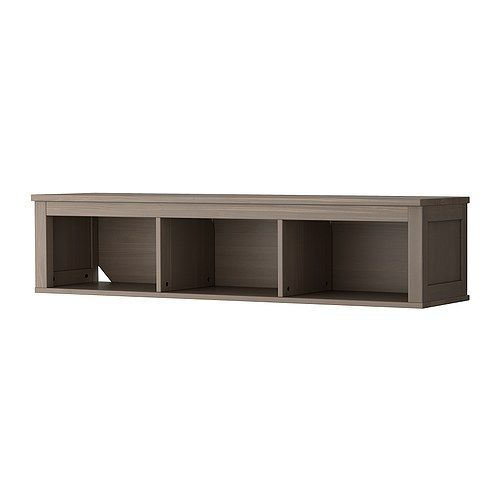 HEMNES Wall/bridging shelf IKEA Solid wood; gives a natural feel. We put this above our flat screen, for the cable box, apple tv, ps3, etc., because the wall is a by pass, traffic wall, and we couldn't use a console under the tv. brilliant idea!!!