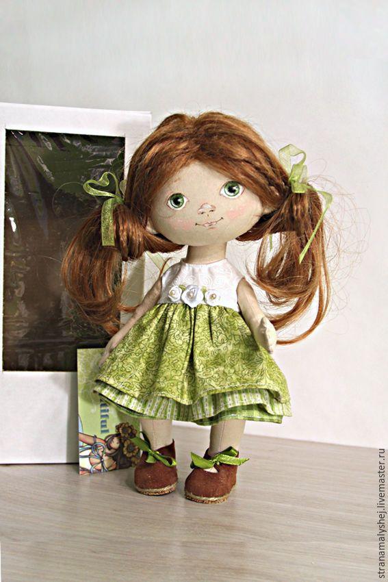 Купить Кукла-малышка Таня,с зелеными глазами в зеленом платье. - салатовый, зеленые глаза