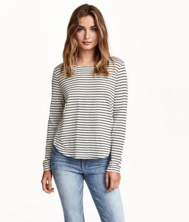 jordans grey toe Patterned top in soft jersey with long sleeves  slightly wider neckline  and gently rounded hem  Slightly longer at back