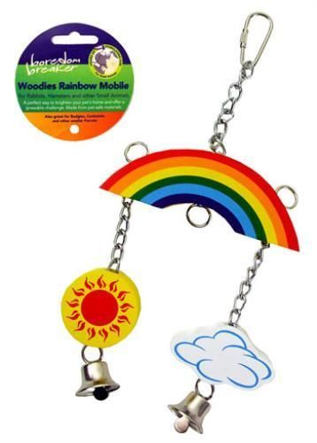 Boredom Breaker Rainbow Mobile Small Animal Toy For Rabbits, Hamsters, Budgies