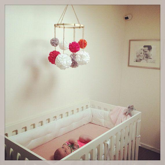 Nursery Mobile Baby Mobile Crib Mobile Hanging Pom by MarigoldPoms