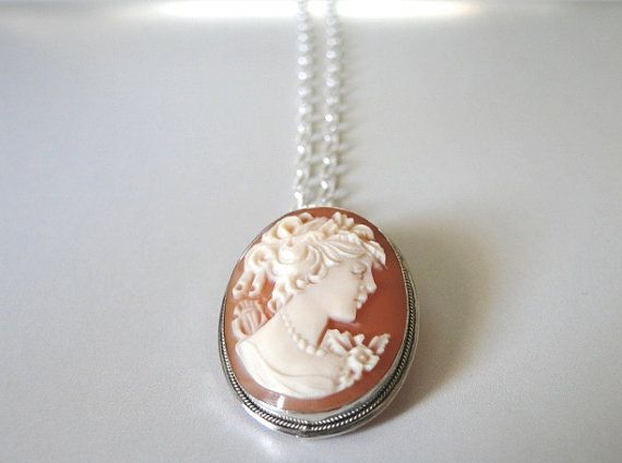 Vintage Cameo/Brooch Sterling Silver Carnelian Carved by wulfgirl