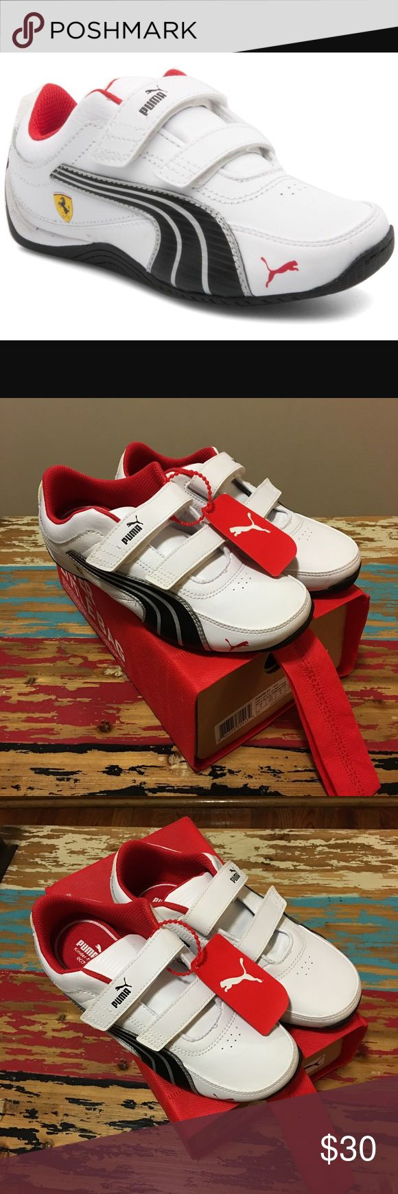 NEW Puma Drift Cat Kids Sneakers Brand-New never worn YOUTH Puma Drift Cat sneakers in white with black and silver detailing..red interior and red Puma logo at front of shoe..leather uppers with Velcro hook and loop closure for easy on and off..these are a youth size 3. Puma Shoes Sneakers
