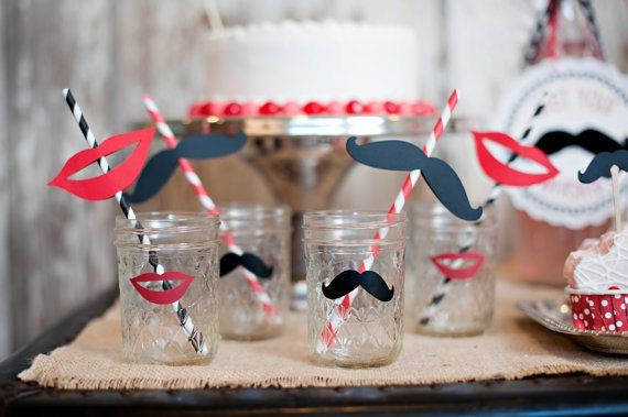 mustache and red lips engagement party ideas