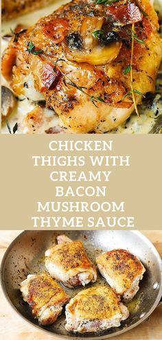 Chicken Legs with Mushroom and Bacon Thyme Sauce   – low carb