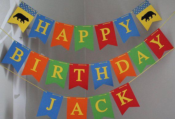 Bear Happy Birthday banner, Personalized Happy Birthday Banner, Custom Birthday Banner, Boy Birthday Banner, Primary Colors Birthday Banner