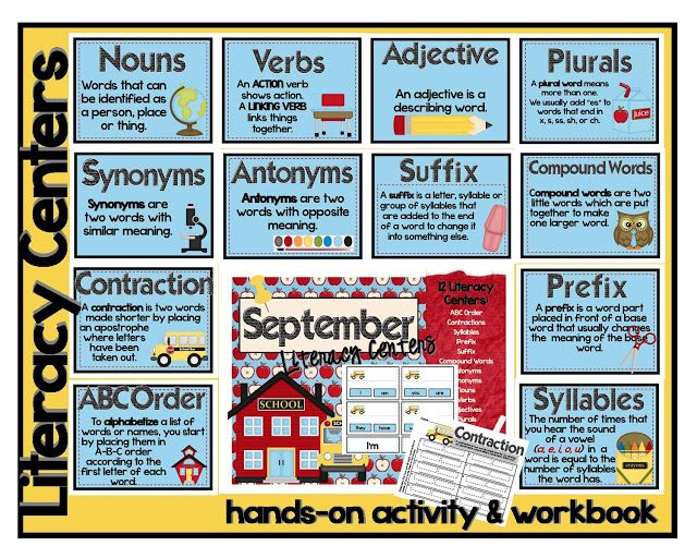 Literacy Center for SEPTEMBER Use during Daily 5 Word Work.  One for each month. Covering: Nouns, Verbs, Adjectves, Plurals, Synonyms, Antonymns, Suffixes, Prefixes, Compound Words, Contractions, ABC Order and Syllables.
