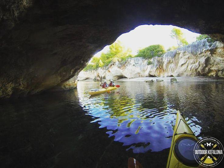 Sea kayaking through caves   Argostoli Kefalonia Greece
