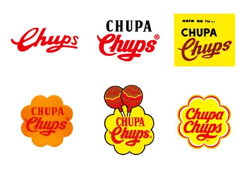 Chupa Chups logo evolution. Artist Salvador Dali was responsible for redesigning the logo in 1969 - he incorporated the brightly coloured daisy into it, which has become an iconic part of their branding.