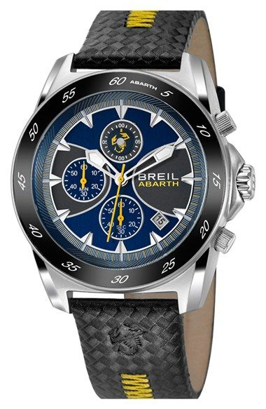 Breil 'Abarth' Chronograph Textured Leather Strap Watch, 52mm   Nordstrom