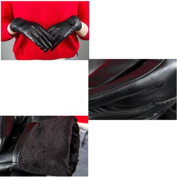 Women Ladies Genuine Lambskin Sheepskin Leather Gloves Driving Velvet Lining Windproof Mittens at Banggood