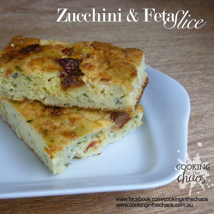 Zucchini & Feta Slice - Thermomix Recipe - Cooking in the Chaos
