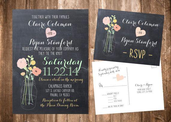 Flowers in a Mason Jar, Chalkboard Wedding Invitation