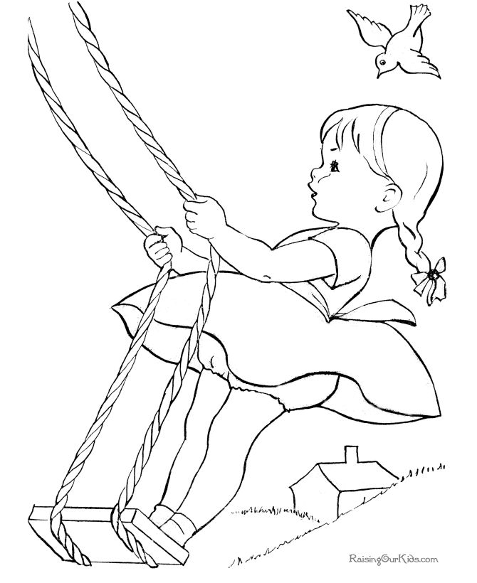 this is how i used to swing on a rope swing from a high tree limb - Girls Coloring Book