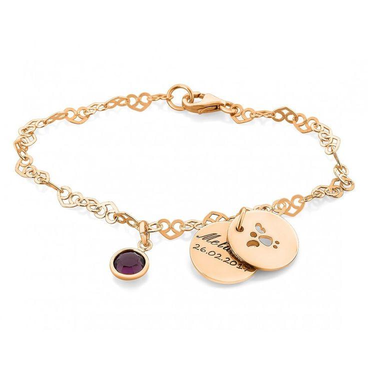 Wunderschönes Armband komplett aus 925 Sterling Silber hochwertig rosé vergoldet mit einem Geburtsstein und zwei Gravurplättchen. In dem vorderen  wird ein schöner Engel ausgeschnitten und auf dem untern findet Ihre gewünschte Gravur Platz.