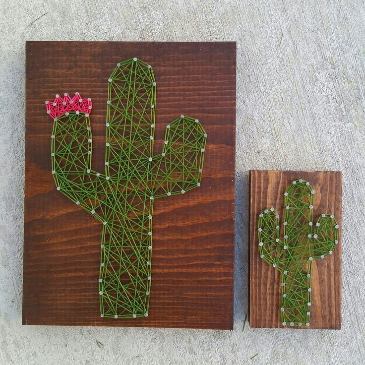 Custom string art cactus sign by Blossomingburlap