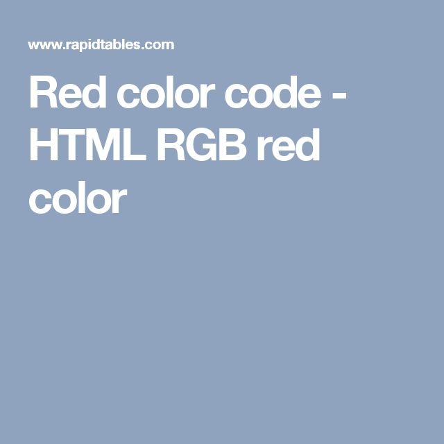 Red color code - HTML RGB red color