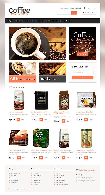 #PrestaShop online #Coffee Store theme. #CoffeeBeans #eCommerce #responsiveDesign