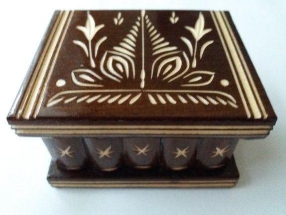 Nouveau mignon fait à la main brun puzzle en bois secret magique bijoux bague porte boîte cadeau jouet pour les enfants