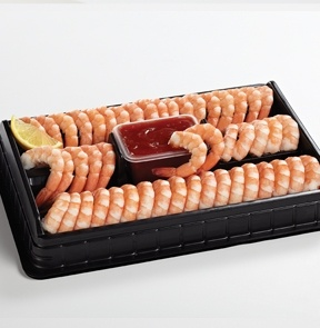 Party-Size Shrimp Platter. Shrimp is always a big hit for party buffets and this fabulous choice will be everyone's new favourite. Simply thaw and serve sauce and shrimp, keeping both you and your guests happy. 40-45 SHRIMP. 850 g/30 oz. - M & M Meat Shops