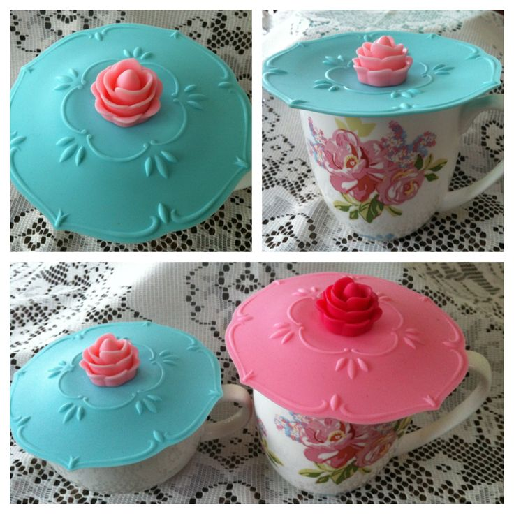 Pretty baby BLUE, dainty silicone cup cover with pink rose knob. Water-tight & keeps drinks hot or cold & contents free from dust, insects & other un-niceties! @ AUD$8.50 + postage or local pick up available.