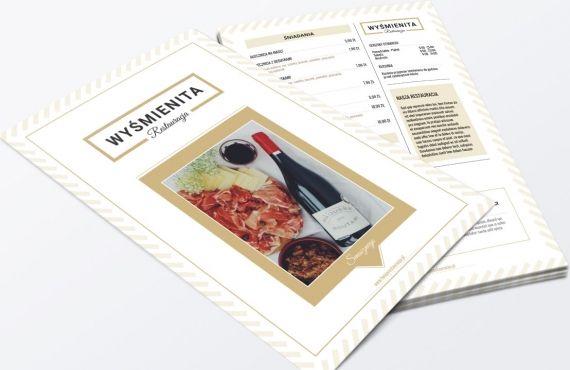 Projekt karty menu dla restauracji lub innego lokalu gastronomicznego