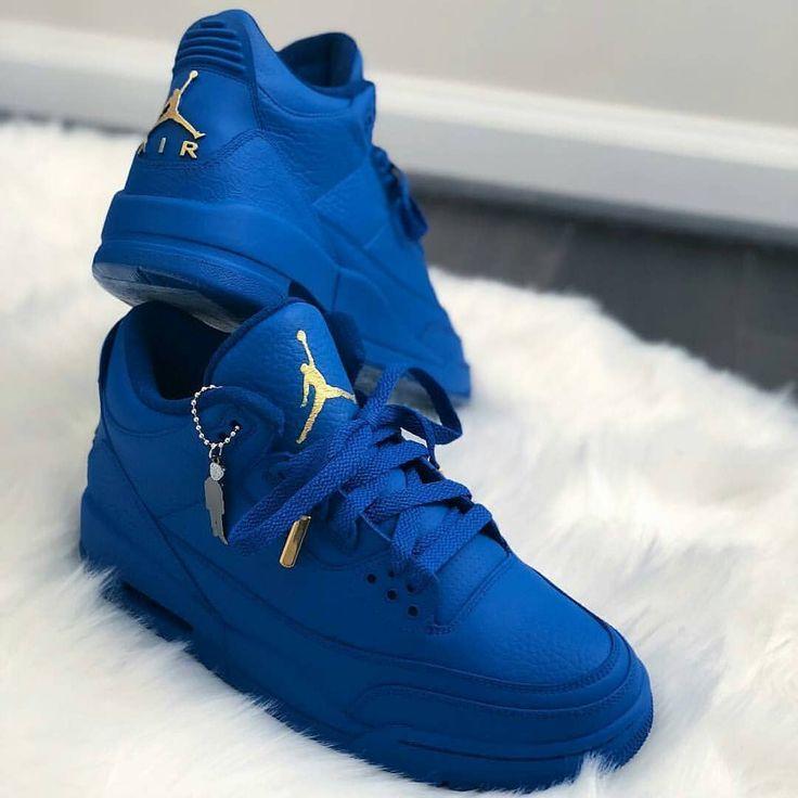 Royal Blue Jordan 3s Double tap if you'd rock! Rock or