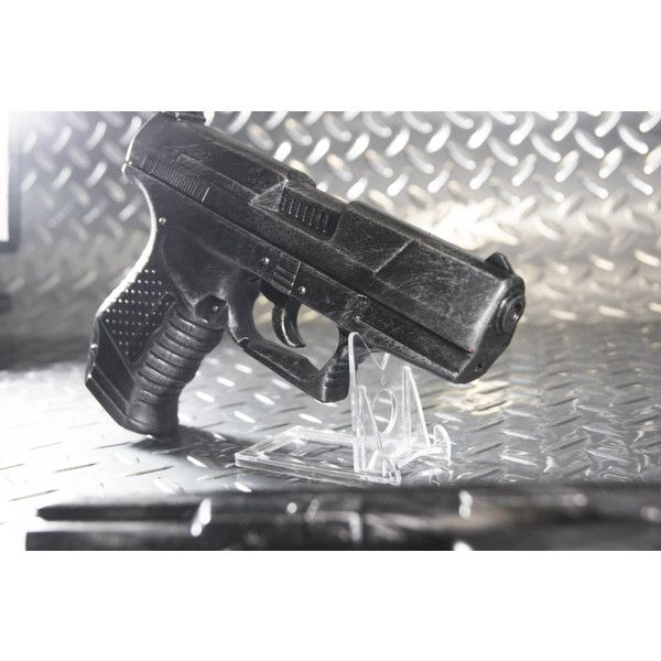 Single P99 Pistol movie prop handguns- perfect for Black Widow,... ($29) ❤ liked on Polyvore featuring costumes, black widow halloween costume, black widow spider costume, role play costumes, cosplay costumes and black widow spider halloween costume