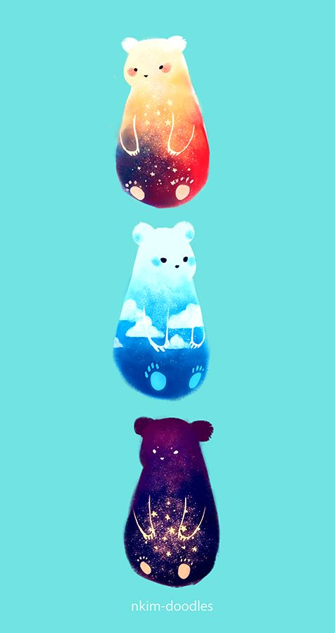 """nkim-doodles: """" SKY BEARS. These guys are now available in my shop! Link : ONLINE SHOP """""""