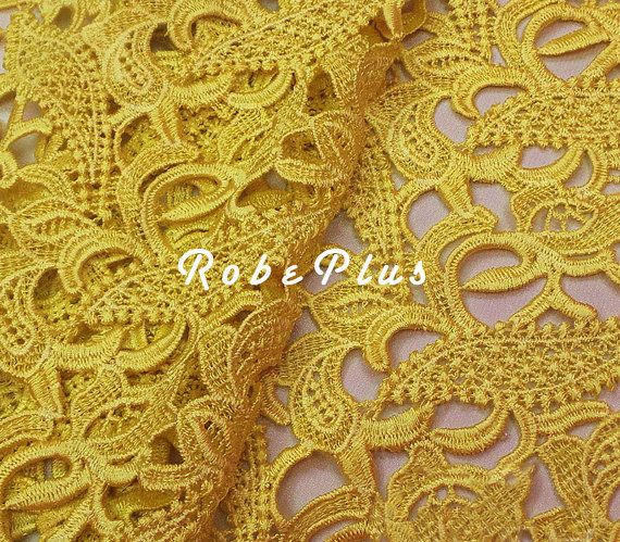 Yellow lace fabric Yellow Floral lace Corn floral lace by RobePlus