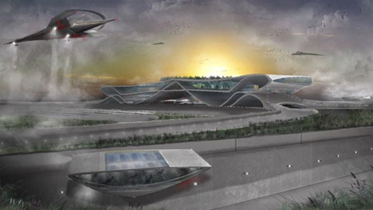 Airport of the future designed by CAD