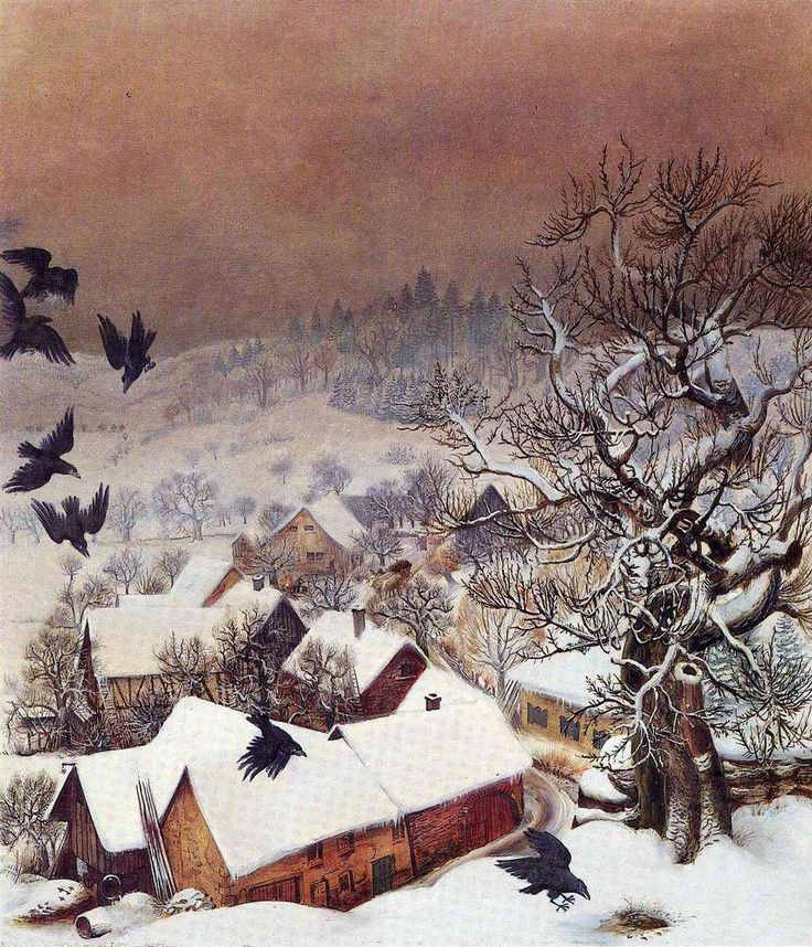 Randegg in the snow with ravens, N/D by Otto Dix (1891-1969)
