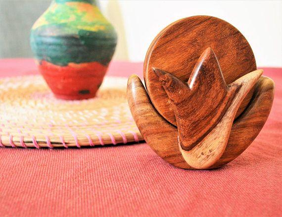 Wooden coaster set Lotus coaster set Flower coaster Plants