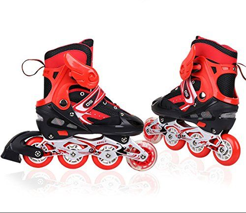 A Point Adjustable Inline Skates for Kids Safe and Durable Rollerblades Perfect for Boys and Girls red L23527cm -- Click on the image for additional details.